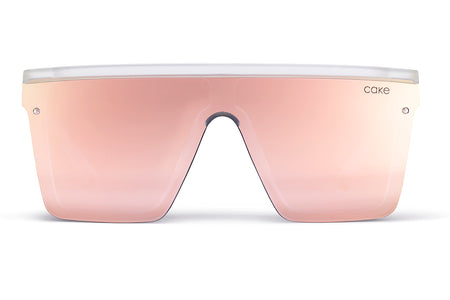Frosted Clear / Soft Pink Mirror Lens
