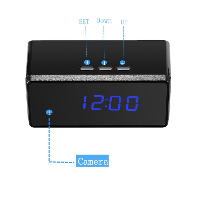 Alarm Clock with Night Vision HD Camera