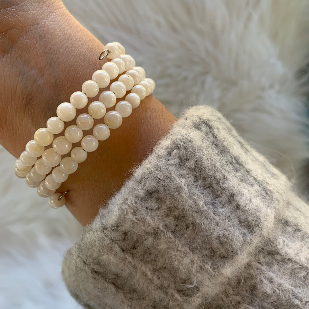 White Wire Wrap Bracelet