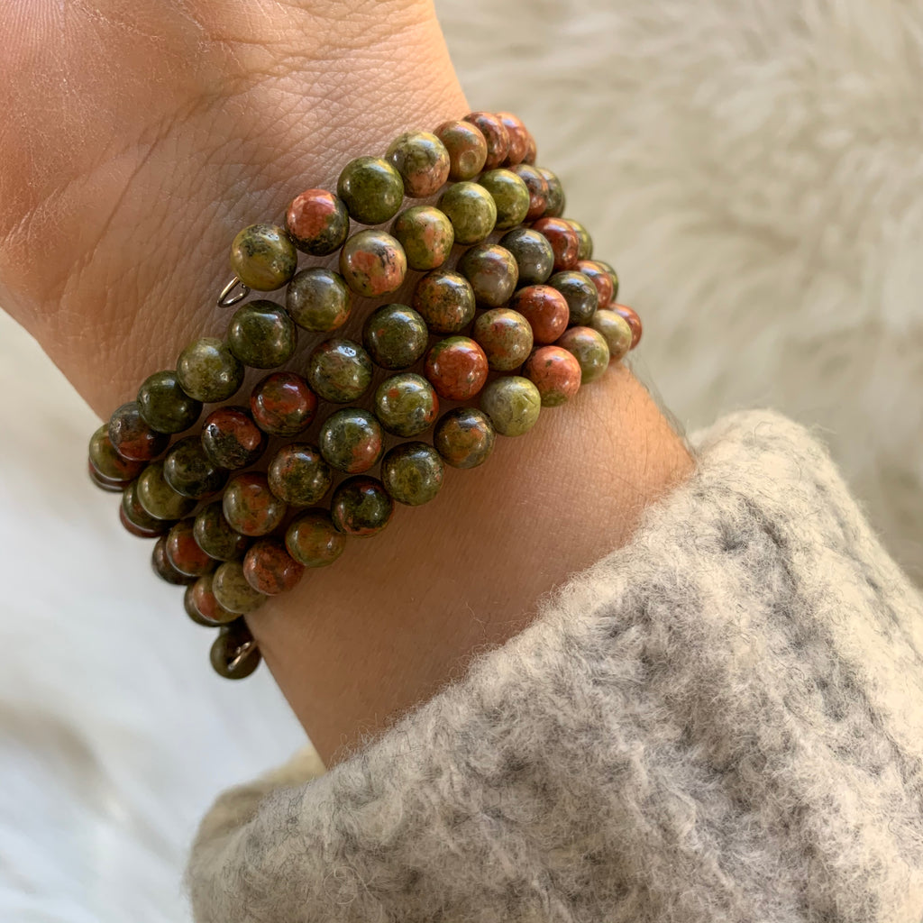 Green Marble Wire Wrap Bracelet