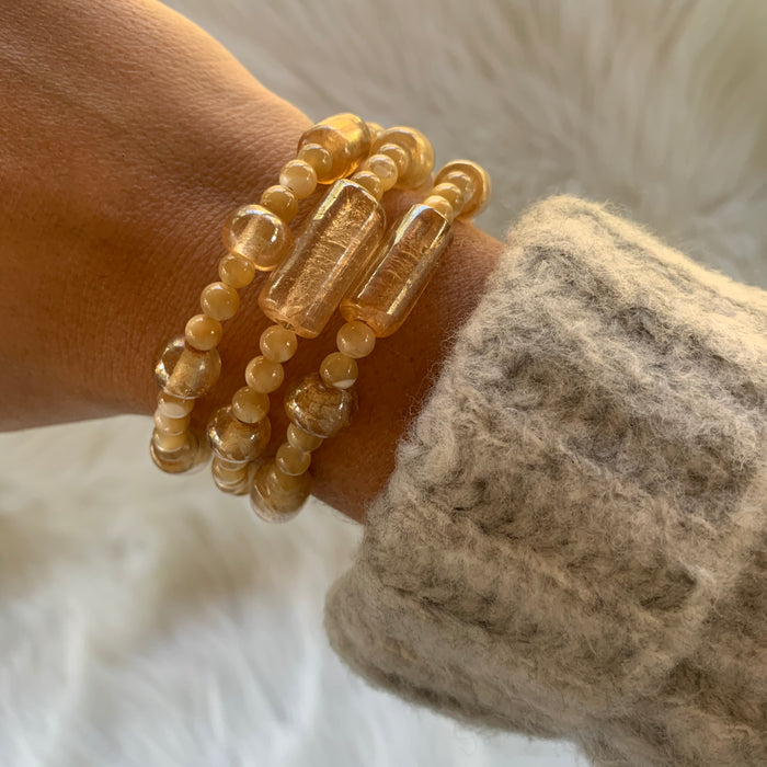 Cream Wire Wrap Bracelet