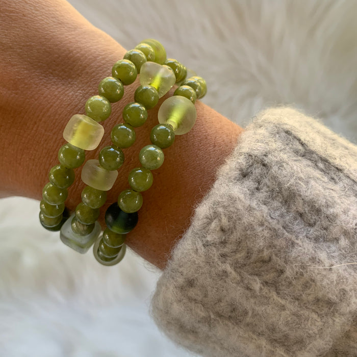 Green Wire Wrap Bracelet