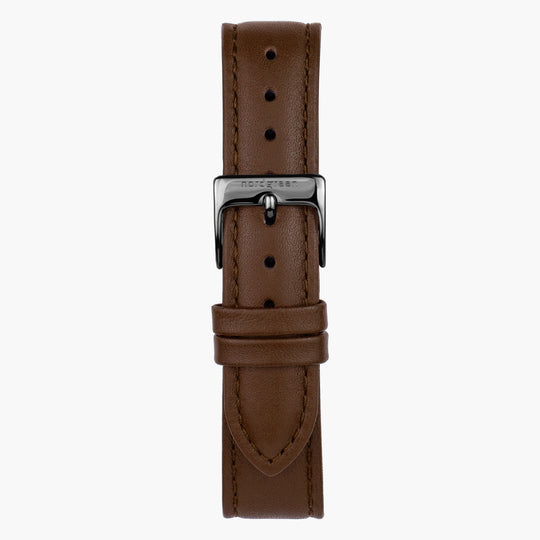 Brown Leather - Gun Metal - 36mm
