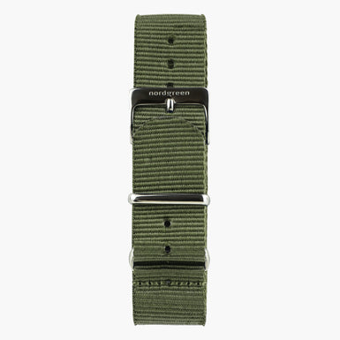 Bohème Green Nylon Watch Strap  - Gun Metal - 40mm