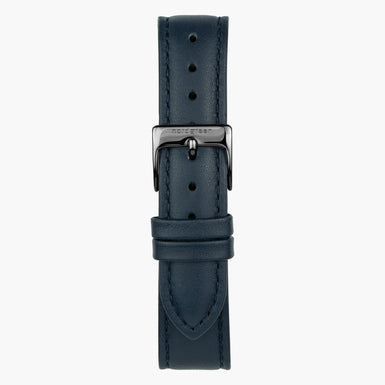 Navy Leather Watch Strap - Gun Metal - 40mm