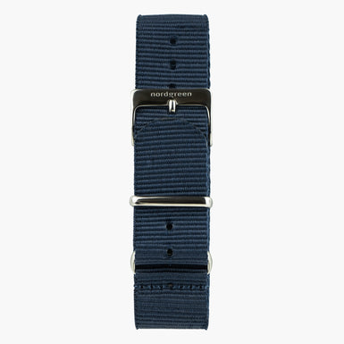 Navy Nylon Watch Strap  - Gun Metal - 40mm