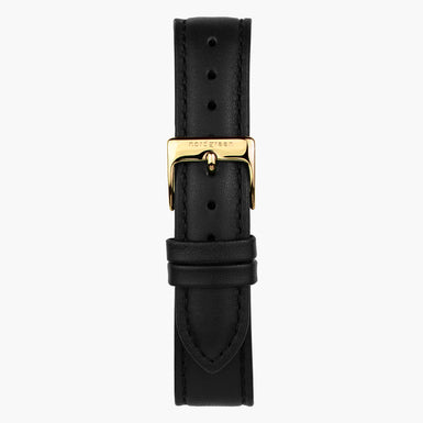 Black Leather Watch Strap - Gold - 40mm