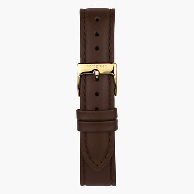 Dark Brown Leather  - Gold - 40mm