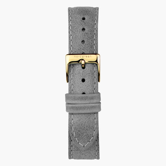 Grey Leather Watch Strap - Gold - 32mm