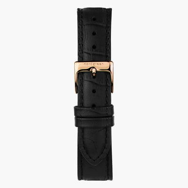 Black Croco Leather Watch Strap - Rose Gold - 40mm