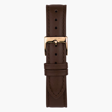 Dark Brown Leather  - Rose Gold - 40mm