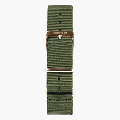 Bohème Green Nylon Watch Strap -  Rose Gold - 40mm