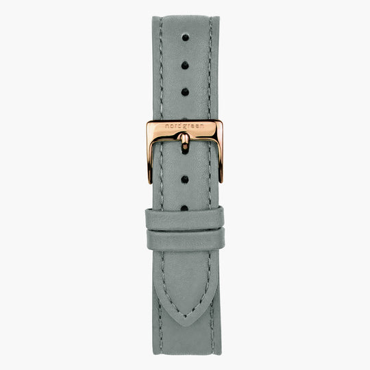 Grey Leather Watch Strap - Rose Gold - 32mm