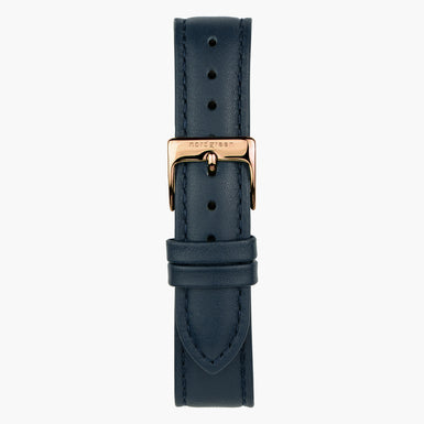 Navy Leather Watch Strap - Rose Gold - 40mm
