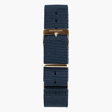 Navy Nylon Watch Strap -  Rose Gold - 40mm