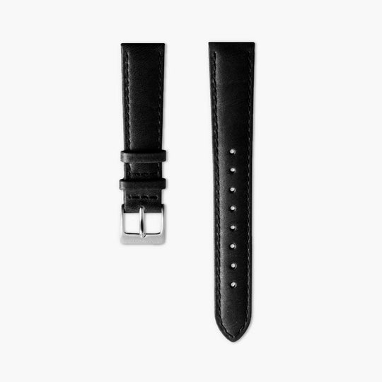 Black Leather Watch Strap - Silver | 36mm