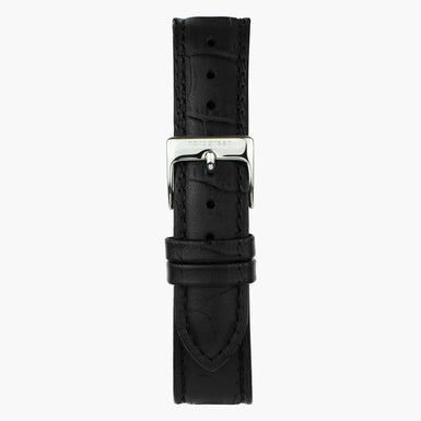 Black Croco Leather Watch Strap - Silver - 40mm