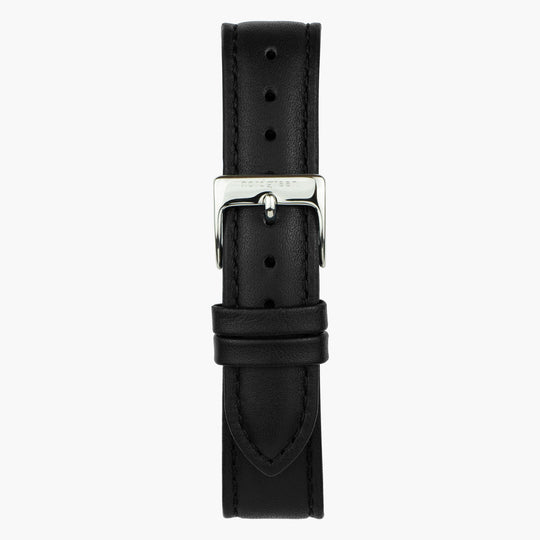 Black Leather Watch Strap - Silver - 40mm