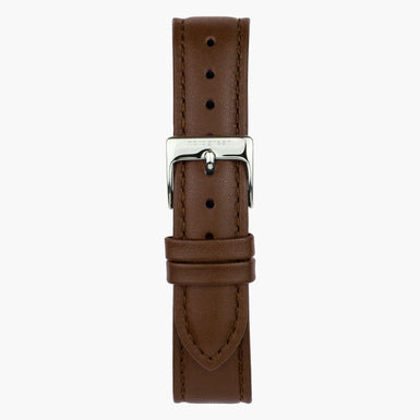 Brown Leather  - Silver - 40mm
