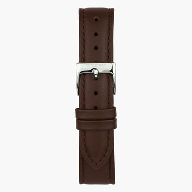 Dark Brown Leather  - Silver - 40mm