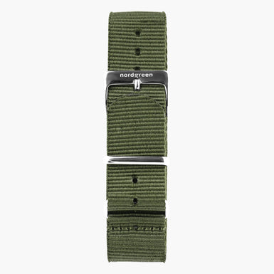 Bohème Green Nylon Watch Strap -  Silver - 40mm