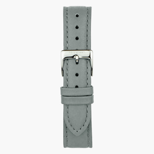Grey Leather Watch Strap - Silver - 36mm