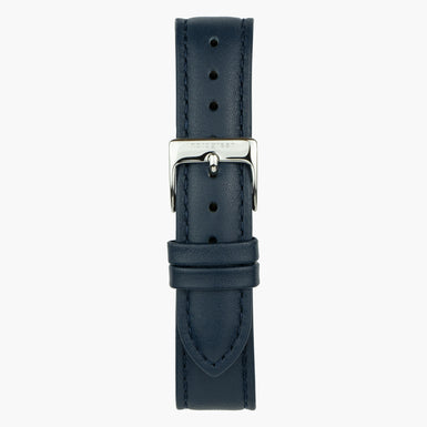 Navy Leather Watch Strap  - Silver - 40mm