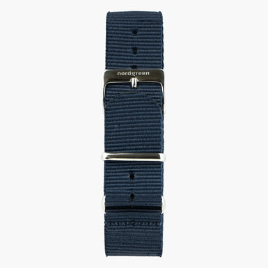 Navy Nylon Watch Strap -  Silver - 40mm