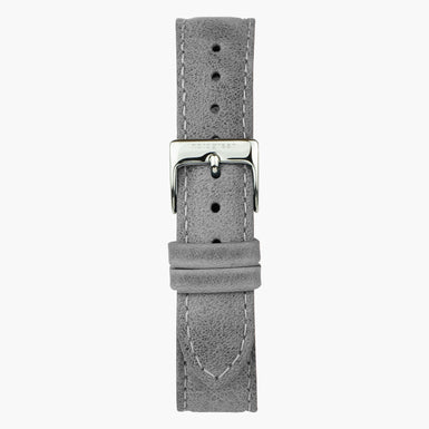 Patina Grey Leather Watch Strap - Silver - 40mm