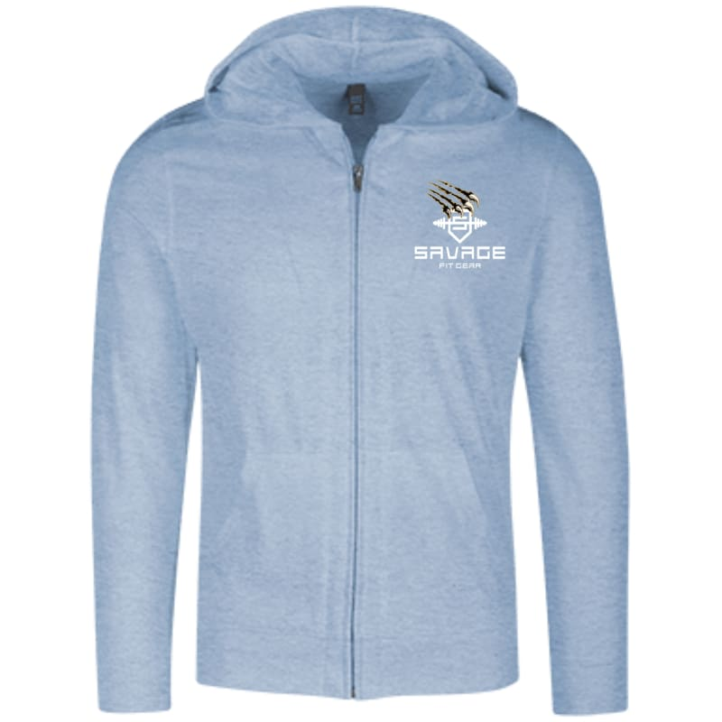 Savage Fitgear Lightweight Full Zip Hoodie - Heathered Sterling Blue / X-Small - Sweatshirts Savage Fitgear