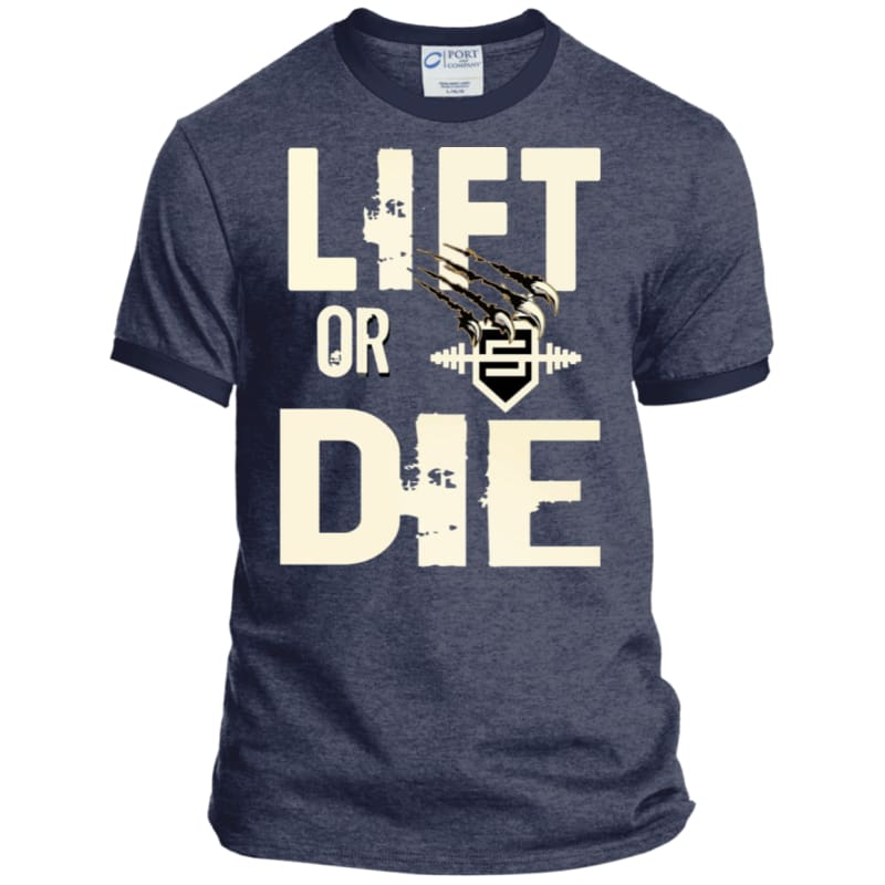 Lift or Die Heather T-Shirt - Heather Navy/Navy / S - T-Shirts Savage Fitgear