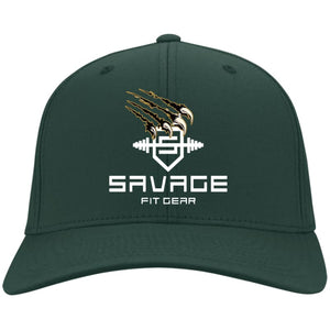 Savage Fitgear White Twill Cap - Hunter Green / One Size - Hats Savage Fitgear