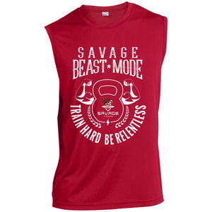 Savage Beast Mode Sleeveless Performance T-Shirt - True Red / X-Small - T-Shirts Savage Fitgear
