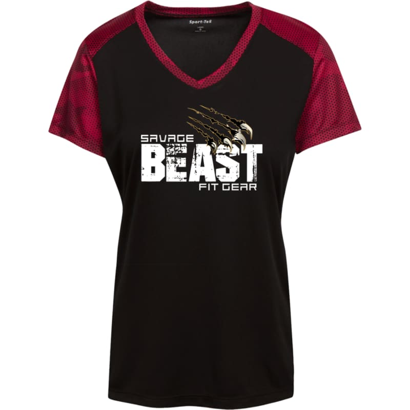 Womens CamoHex Savage Beast T-Shirt - Black/Deep Red / X-Small - T-Shirts Savage Fitgear