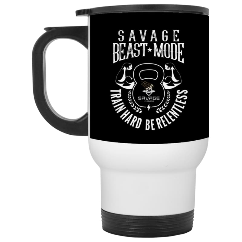 Savage Beast Mode Black/White Travel Mug - Black / One Size - Drinkware Savage Fitgear