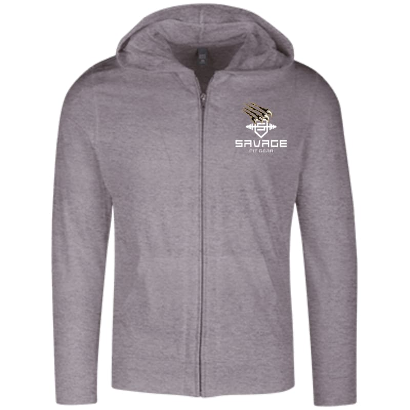 Savage Fitgear Lightweight Full Zip Hoodie - Dark Heather Grey / X-Small - Sweatshirts Savage Fitgear