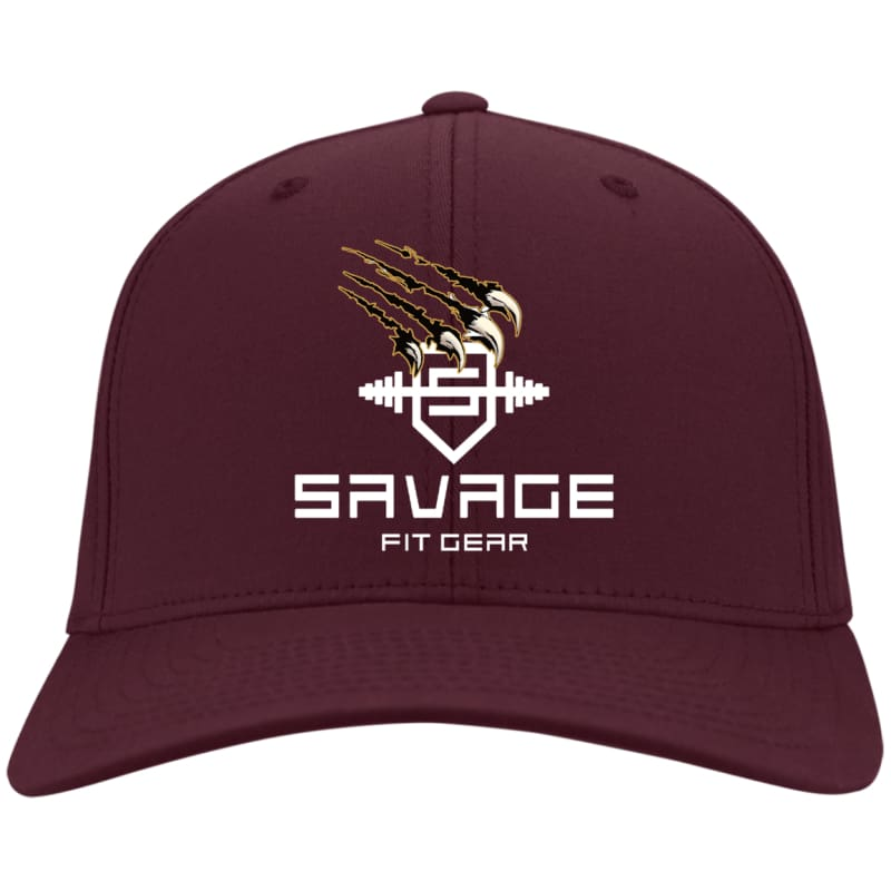 Savage Fitgear White Twill Cap - Maroon / One Size - Hats Savage Fitgear