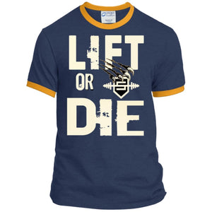 Lift or Die Heather T-Shirt - Navy/Gold / S - T-Shirts Savage Fitgear