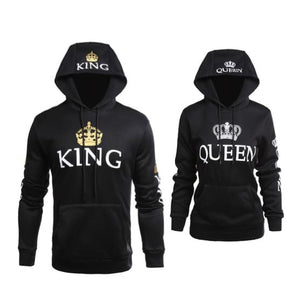 King/queen Crown Print Slim Pullover Hoodie - Savage Fitgear