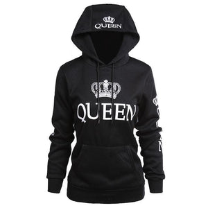 King/queen Crown Print Slim Pullover Hoodie - Black/queen / S - Savage Fitgear