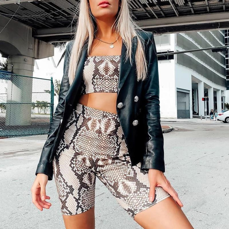 Snakeskin Crop Top Short Set Snakeskin Crop Top Short Set Savage Fitgear