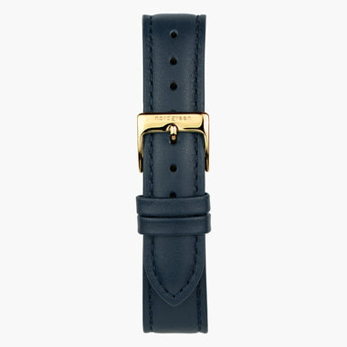 Lederarmband Navy Blau - Gold - 36mm