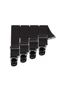 4 x Steel Suspender Clips In Black