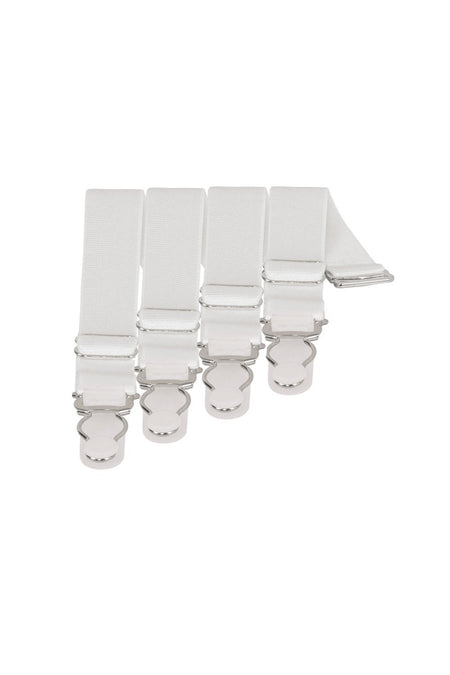 4 x Steel Suspender Clips In White
