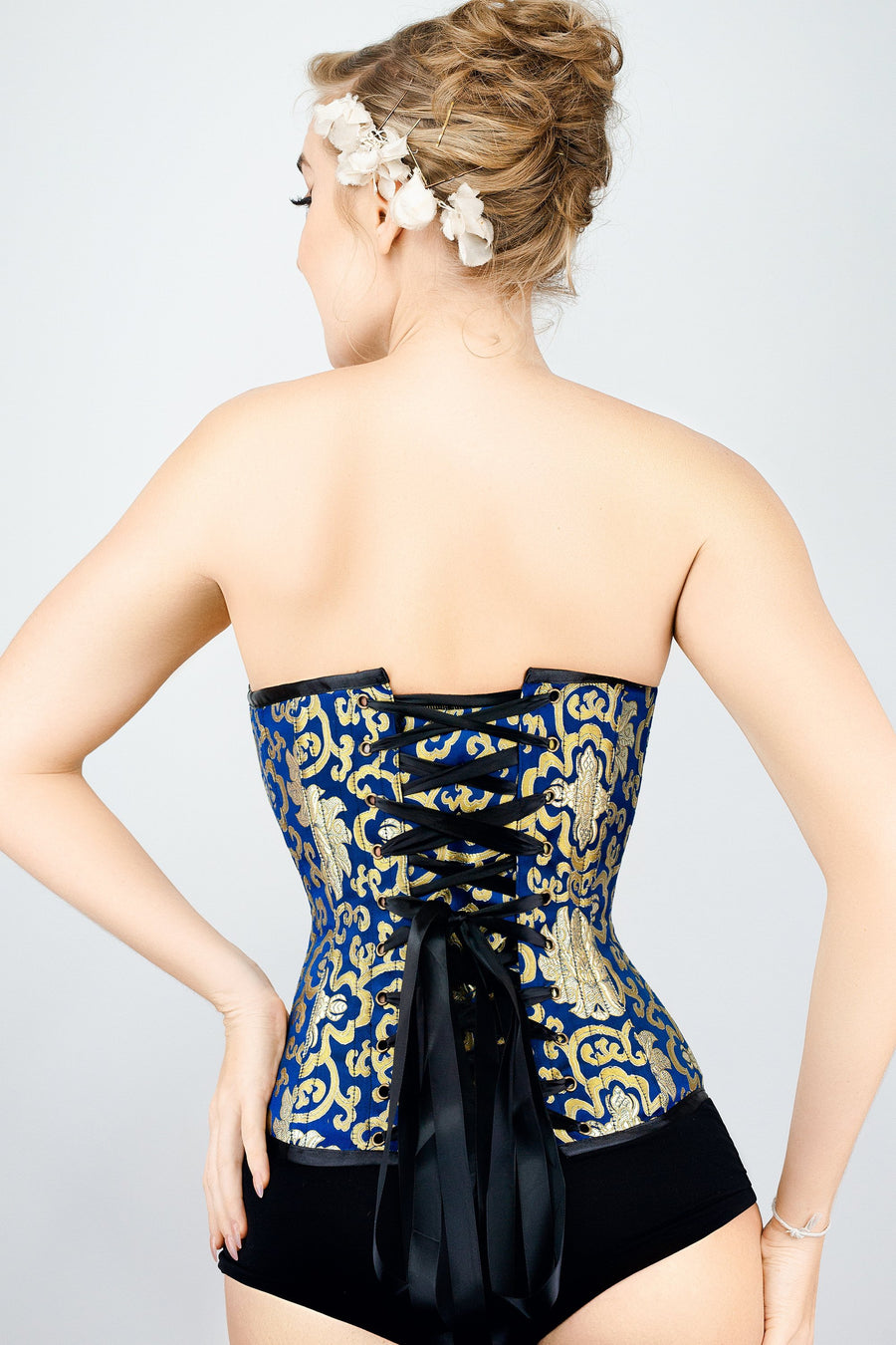 Blue With Gold Brocade Pattern Overbust With Hooks