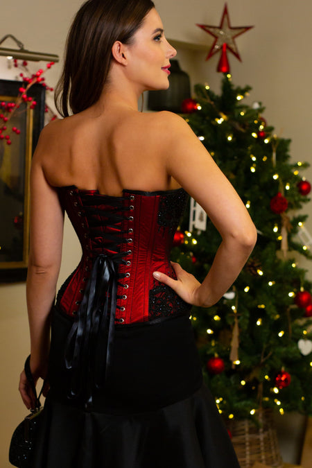 Burgundy Satin Couture Corset
