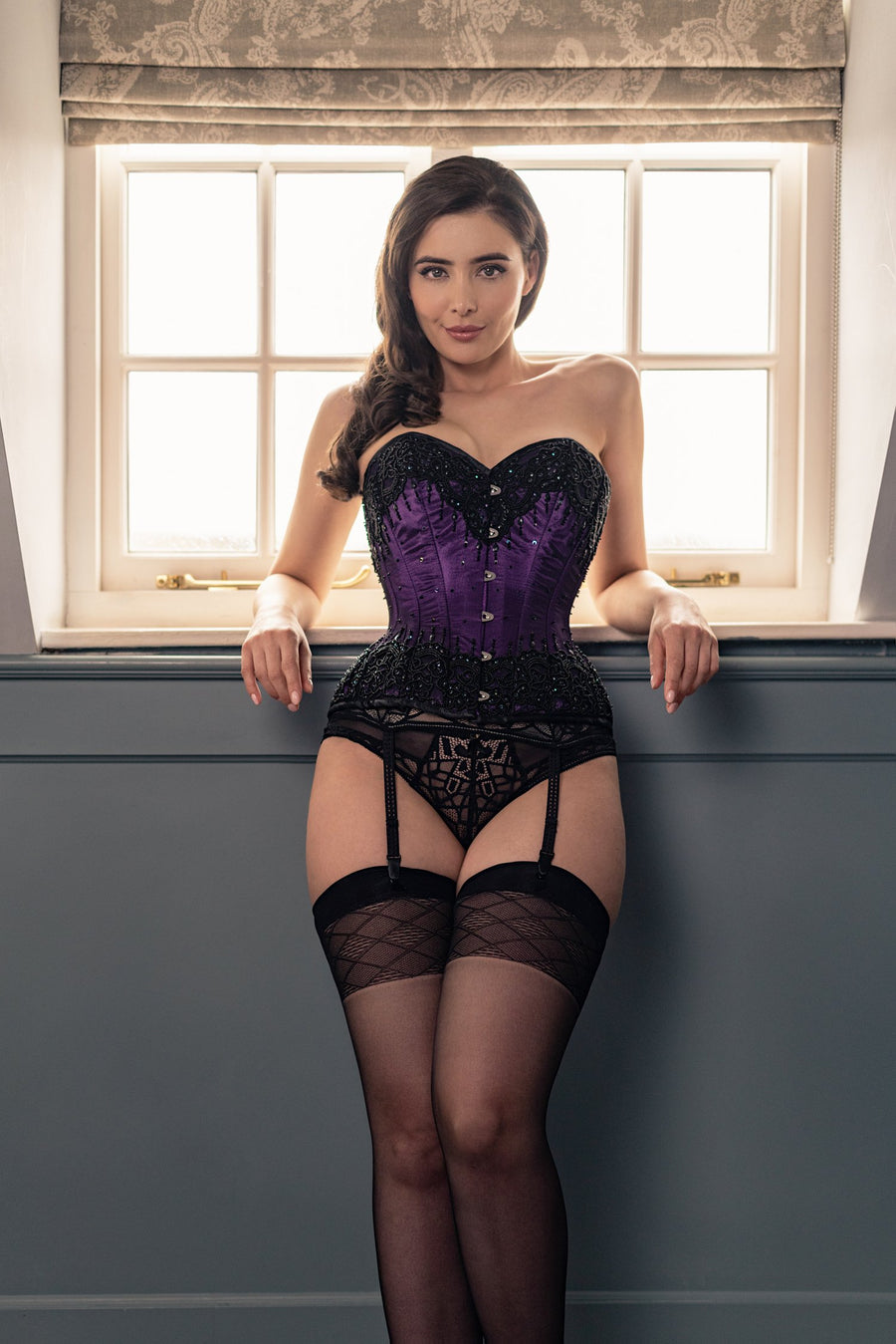 Purple Satin Couture Corset