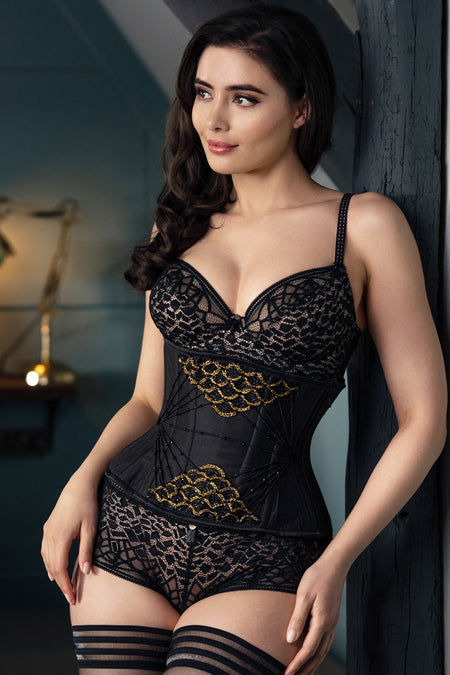 Embellished Couture Underbust Corset Waspie In Black