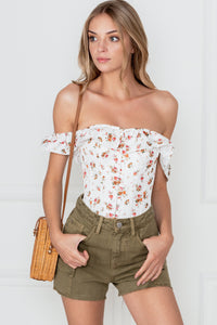 Corset Story Floral Vintage Inspired Straight Line Overbust With Off Shoulder Collar