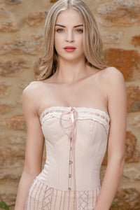 Beige Summer Victorian Vintage Straight Lined Overbust